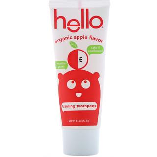 Hello, Зубная паста для обучения гигиене полости рта, без фтора, с органическим ароматом яблока, 42,5 г (1.5 oz)