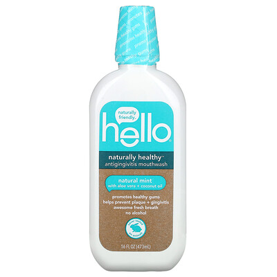 Купить Hello Naturally Healthy, Antigingivitis Mouthwash with Aloe Vera + Coconut Oil, Natural Mint, 16 fl oz (473 ml)