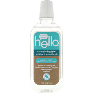 Hello, Naturally Healthy, Antigingivitis Mouthwash, Natural Mint, 16 fl oz (473 ml)