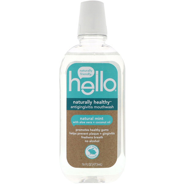 Hello, Naturally Healthy, Antigingivitis Mouthwash, Natural Mint, 16 fl oz (473 ml) (Discontinued Item)