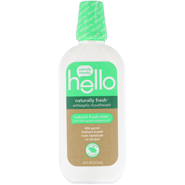 Hello, Naturally Fresh Enxaguante bucal antisséptico, Menta Natural Fresh, 16 fl oz (473 ml)