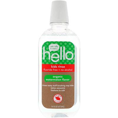 Купить Hello Ополаскиватель для рта, детский, без фтора и спирта, вкус арбуза, 16 ж. унц. (473 мл)