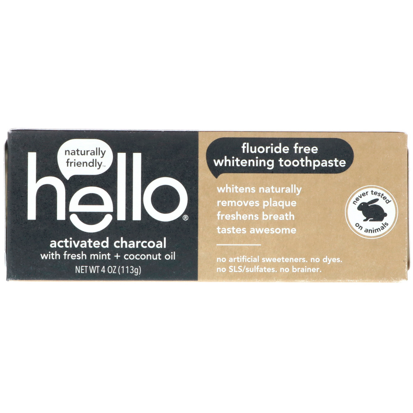 Hello Fluoride Free Whitening Toothpaste Activated Charcoal