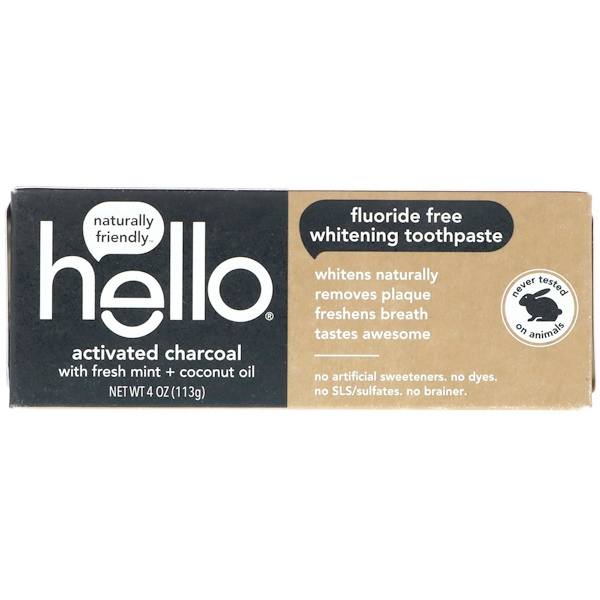 Hello, Fluoride Free Whitening Toothpaste, Activated Charcoal, With Fresh Mint & Coconut Oil, 4 oz (113 g)
