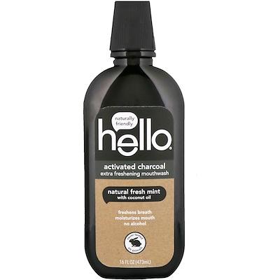 Купить Hello Активированный уголь, супер освежающий ополаскиватель для полости рта, натуральная свежая мята, 16 ж. унц. (473 мл)