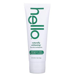 Hello, Naturally Whitening Fluoride Toothpaste, Farm Grown Mint, 4.7 oz (133 g)