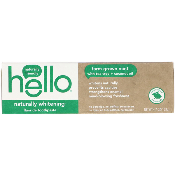 Hello, Naturally Whitening Fluoride Toothpaste, Farm Grown Mint, 4.7 oz (133 g)