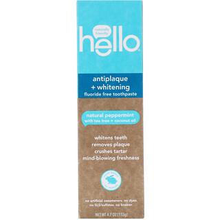Hello, Antiplaque + Whitening Fluoride Free Toothpaste, Natural Peppermint, 4.7 oz (133 g)