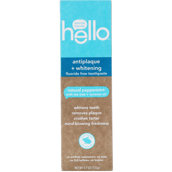 Hello, Antiplaque + Whitening Fluoride Free Toothpaste, Natural Peppermint, 4.7 oz (133 g)