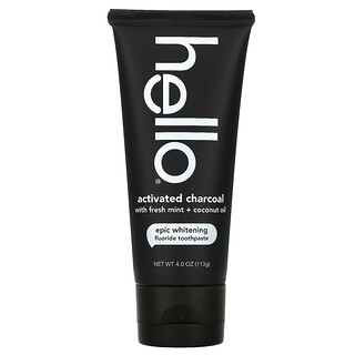 Hello, Activated Charcoal Epic Whitening Fluoride Toothpaste, Fresh Mint + Coconut Oil, 4.0 oz (113 g)