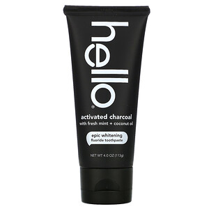 Hello, Activated Charcoal Epic Whitening Fluoride Toothpaste, Fresh Mint + Coconut Oil, 4.0 oz (113 g) отзывы