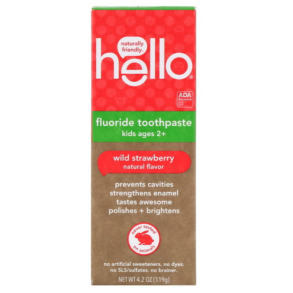 Hello, Kids, Creme Dental com Flúor, Morango Selvagem, 4,2 oz (119 g)