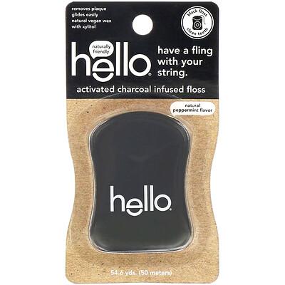 Купить Hello Зубная нить с активированным углем, натуральный аромат перечной мяты, 50м