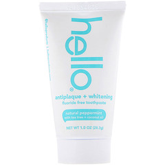 Hello, Antiplaque + Whitening Fluoride Free Toothpaste, Natural Peppermint, 1.0 oz (28.3 g)​