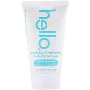 Hello, Antiplaque + Whitening Fluoride Free Toothpaste, Natural Peppermint, 1.0 oz (28.3 g)? отзывы покупателей