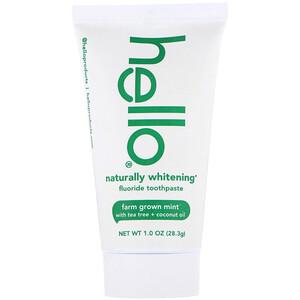 Hello, Naturally Whitening Fluoride Toothpaste, Farm Grown Mint, 1 oz (28.3 g) отзывы покупателей