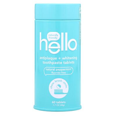 Купить Hello Таблетки с отбеливающей зубной пастой против налета, натуральная перечная мята, 60шт.