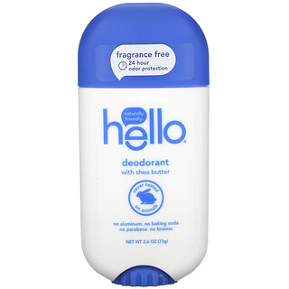 Hello, Deodorant with Shea Butter, Fragrance Free, 2.6 oz (73 g)
