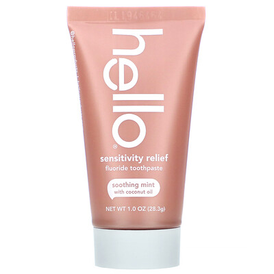 Купить Hello Sensitivity Relief Fluoride Toothpaste, Soothing Mint with Coconut Oil, 1 oz (28.3 g)