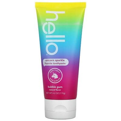 Hello Kids, Unicorn Sparkle Fluoride Toothpaste, Ages 2+, Bubble Gum, 4.2 oz (119 g)