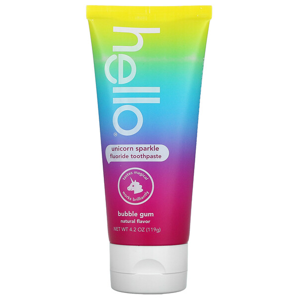 Hello, Kids, Fluoride Toothpaste, Unicorn Sparkle, Ages 2+, Bubble Gum, 4.2 oz (119 g)