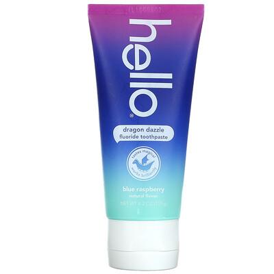 Hello Kids, Fluoride Toothpaste, Dragon Dazzle, Ages 2+, Blue Raspberry, 4.2 oz (119 g)