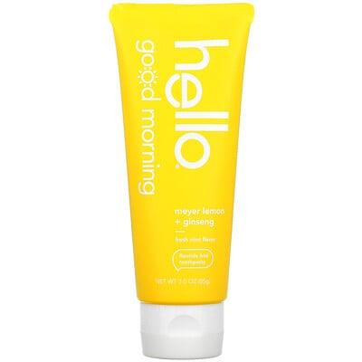 Купить Hello Good Morning, Fluoride Free Toothpaste, Meyer Lemon + Ginseng, 3 oz (85 g)
