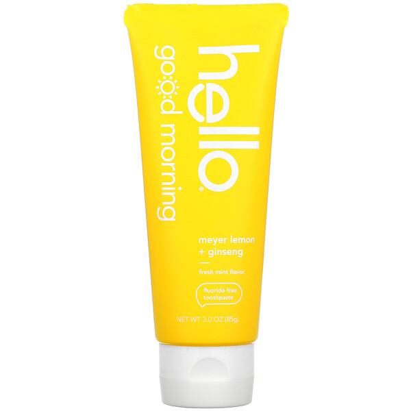 Good Morning, Fluoride Free Toothpaste,  Meyer Lemon + Ginseng, 3 oz (85 g)