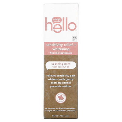 Hello Sensitivity Relief + Whitening Fluoride Toothpaste, Soothing Mint with Coconut Oil, 4.7 oz (133 g)
