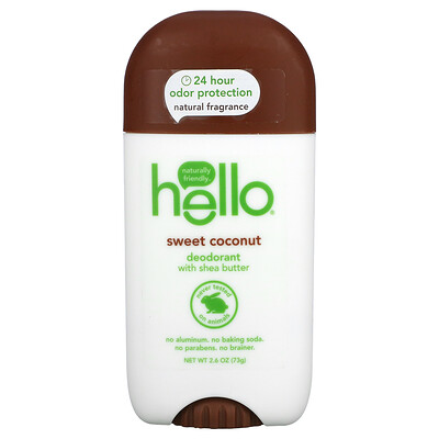 Hello Deodorant with Shea Butter, Sweet Coconut, 2.6 oz (73 g)