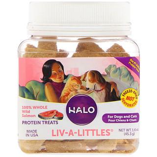Halo, Liv-A-Littles, قطع البروتين اللذيذة، قطع كاملة مصنوعة 100 بالمائة من السلمون البري، للكلاب والقطط، 1.6 أوقية (45.3 جم)