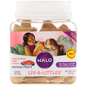 Halo, Liv-A-Littles, Protein Treats, 100% Whole Wild Salmon, For Dogs & Cats, 1.6 oz (45.3 g) отзывы