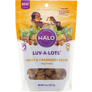 Halo, Luv-A-Lots، مكافآت الكلاب، وصفة لحم الديك الرومي والتوت البري، 5 أوقية (141.7 غرام)