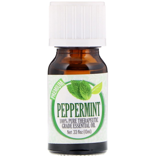 Healing Solutions, 100% Pure Therapeutic Grade Essential Oil, Peppermint, 0.33 fl oz (10 ml) (Discontinued Item)