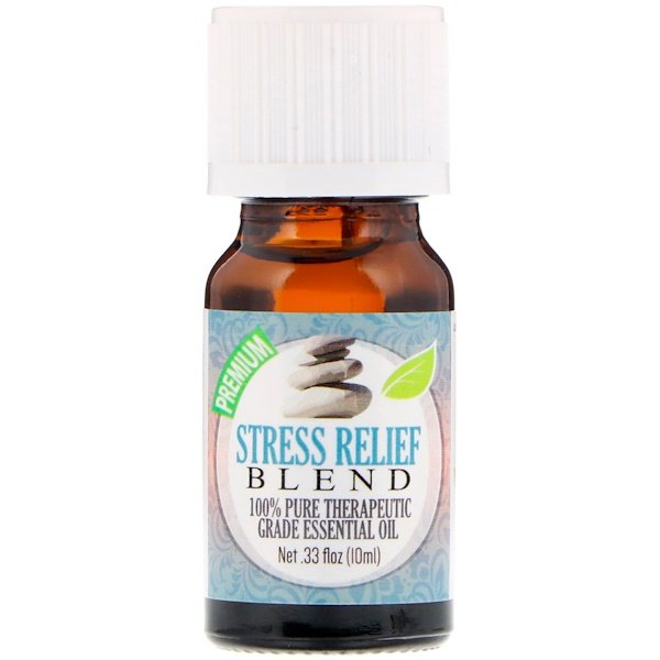 Healing Solutions, 100% Pure Therapeutic Grade Essential Oil, Stress Relief Blend, 0.33 fl oz (10 ml) (Discontinued Item)