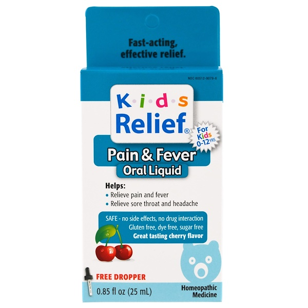 Homeolab USA, Kids Relief, Pain & Fever for Kids, Cherry Flavor, 0、85 fl oz (25 ml)