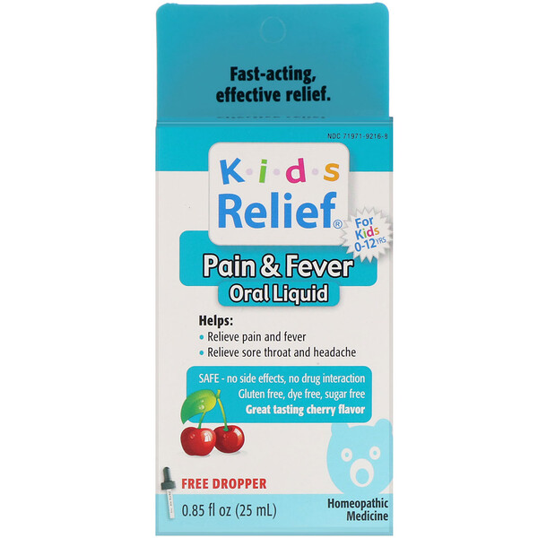 Kids Relief, Pain & Fever Oral Liquid, For Kids 0-12 Yrs, Cherry Flavor, 0.85 fl oz (25 ml)