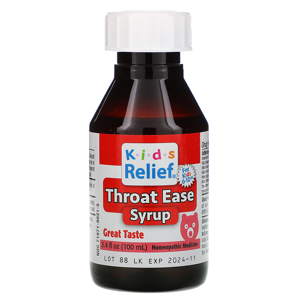 Kid's Relief, Throat Ease Syrup, 0-12 Yrs, 3.4 fl oz (100 ml)