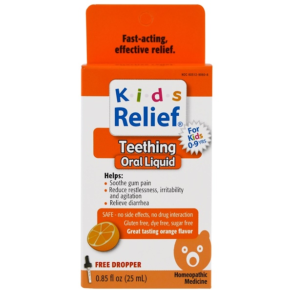 Homeolab USA, Kids Relief, Teething, Orange Flavor, 0.85 fl oz (25 ml)