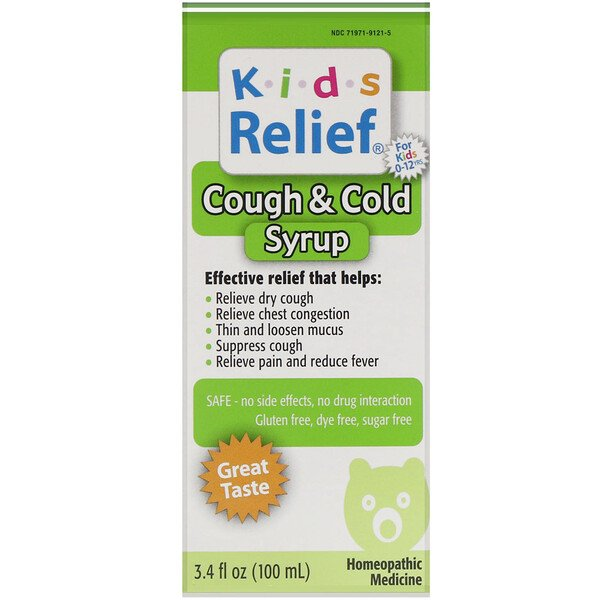Kids Relief, Cough & Cold Syrup, For Kids 0-12 Yrs, 3.4 fl oz (100 ml)