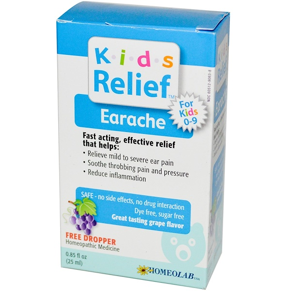Homeolab USA, Kids Relief, Earache for Kids 0-9, Grape Flavor, 0.85 fl oz (25 ml)