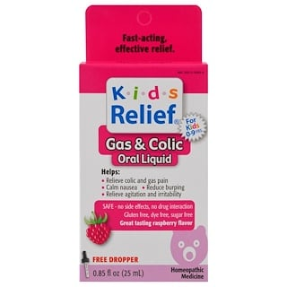 Homeolab USA, Kids Relief, Gas & Colic, Raspberry Flavor, 0.85 fl oz (25 ml)