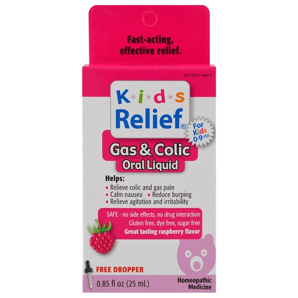 Homeolab USA, Kids Relief, Gas & Colic, Raspberry Flavor, 0.85 fl oz (25 ml) (Discontinued Item)