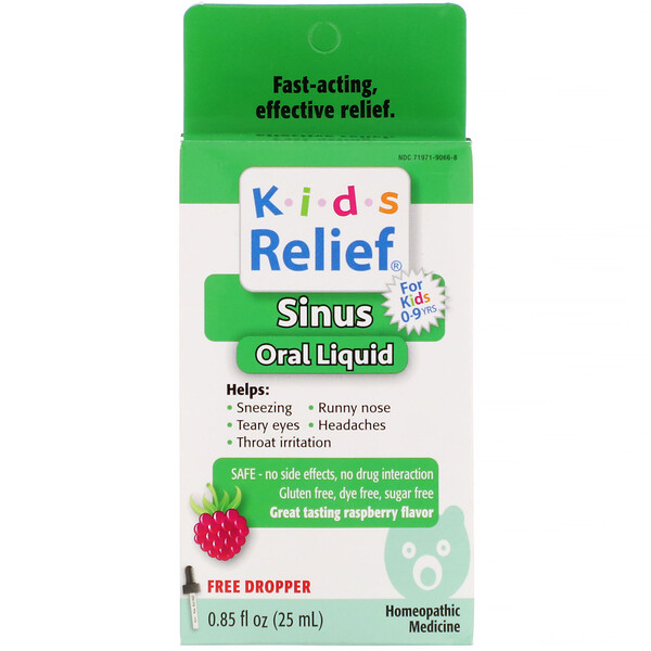 Kids Relief, Sinus Oral Liquid, For Kids 0-9 Yrs, Raspberry Flavor, 0.85 fl oz (25 ml)