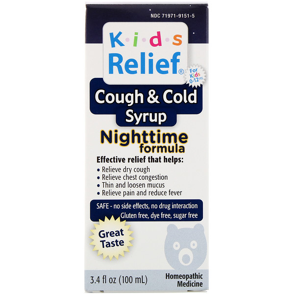 Kids Relief, Cough & Cold Syrup, Nighttime Formula, For Kids 0-12 Yrs, 3.4 fl oz (100 ml)