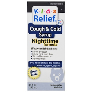 Homeolab USA, Kids Relief, Cough & Cold, Nighttime Formula, 8.5 fl oz (250 ml)