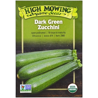 High Mowing Organic Seeds, Dark Green Zucchini, 1/8 Ounce