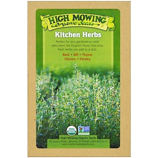 High Mowing Organic Seeds, Kitchen Herbs, Organic Seed Collection, Variety Pack, 5 Packets