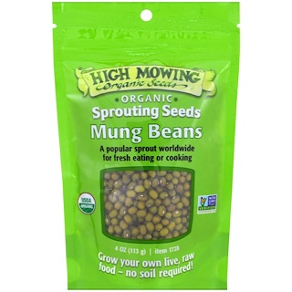 High Mowing Organic Seeds, Fríjoles mungo, semillas germinantes, 4 oz (113 g)