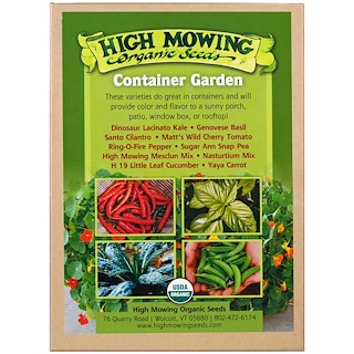 High Mowing Organic Seeds, Container Garden, Organic Seed Collection, Variety Pack, 10 Pack